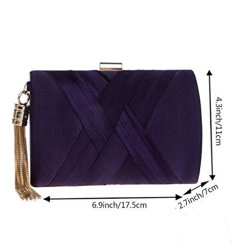 Sacs en Sac De Gland Sac Élégant Bourse De Fête De Soie Femmes Mariage Purple YANXH À De Mariage Pendentif Soirée Main d'embrayage q07zwdZ
