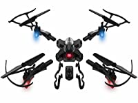 Drone with Camera Live Video Detachable RC Quadcopter with 2 Batteries 2.0MP FPV WiFi 2.4GHz 6-Axis Gyro Headless Mode Altitude Hold One Key Return Remote Control Gravity Sensor DIY Helicopter