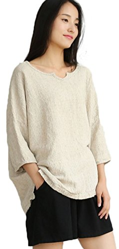 Soojun Women's Essential Casual Loose Solid Cotton Linen Tops Blouses 2 ()