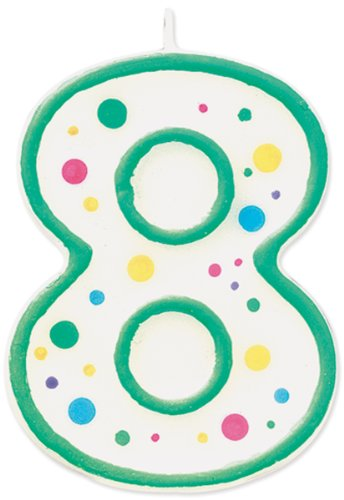 08 Candle - Wilton W91-08 Numeral Candle, 3-Inch by 1.5-Inch, No. 8, Green, 1-Pack