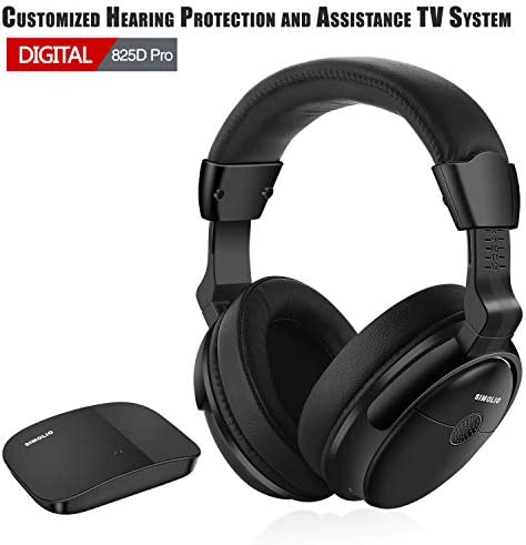 SIMOLIO SM-825D Pro Digital Wireless Headphones with Optical for Most TVs, Hearing Protection Wireless TV Headphones with Extra Battery, TV Hearing Aid Device for Seniors and Hard of Hearing