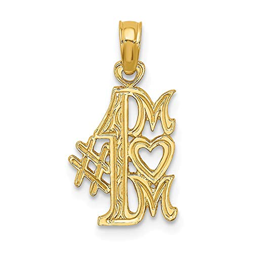 14k Yellow Gold #1 Mom Pendant Charm Necklace Special Person Fine Jewelry Gifts For Women For Her