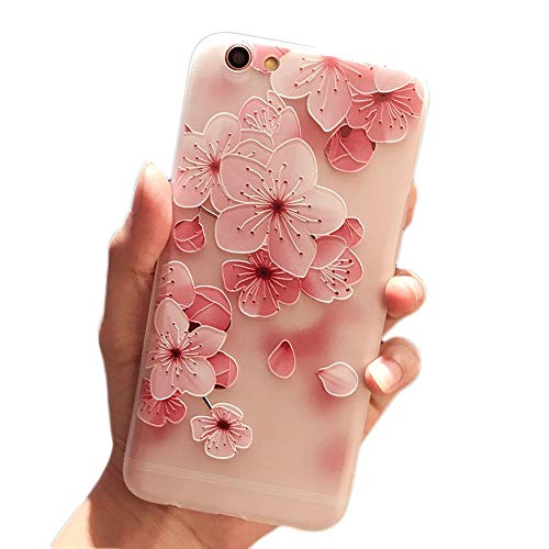 iPhone 6 Plus Soft Case,LuoMing 3D Emboss Beautiful Flower Pattern Slim fit Shock-Absorbing Soft Rubber Clear TPU Skin Cover Case for iPhone 6 Plus/iPhone 6s Plus (5.5inch) (Cherry Blossom)