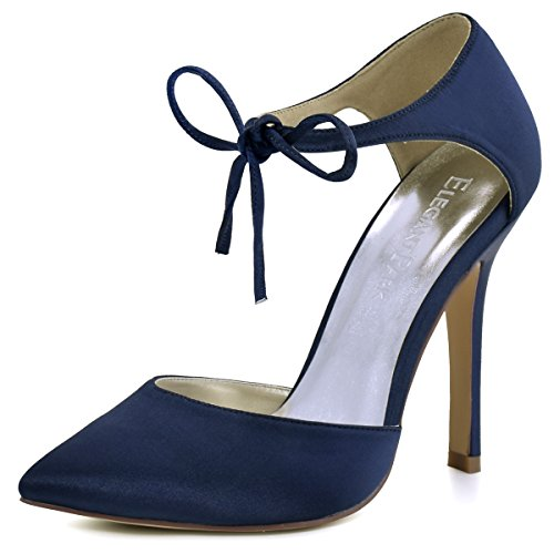 ElegantPark HC1610 Women's Pointed Toe High Heel Lace-up Bow D`Orsay Pumps Satin Wedding Dress Shoes Navy Blue US 9 (Womens Blue Navy Shoes)