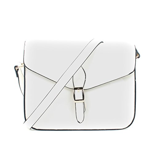 Leather White Cross Patent Faux Bag White 1610 Ladies Satchel Aossta Messenger qw1tBpUB