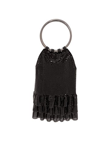 Whiting & Davis Metal Mesh Ruffles Evening Bag, Black, One Size by Whiting & Davis