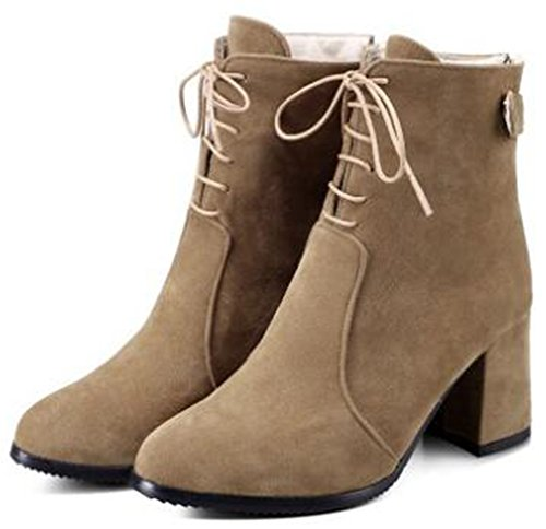 Boots Frosted IDIFU Lace Back Chunky Martin Zipper Women's Toe Up Heels Khaki Ankle Mid With Round Trendy r0q7wrz