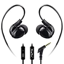 Kingyou Running Headphones Over Ear in Ear Noise-Isolating Sports Earbuds for Workout Gym Exercise Jogging Earhook Earphones with Mic for iPhone Samsung Android MP3/MP4 Player Tablet Laptop(Black)