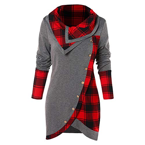 Highland Ladies Pant Plaid (KCatsy Tartan Panel Cowl Neck Tulip Front T-Shirt Gray)
