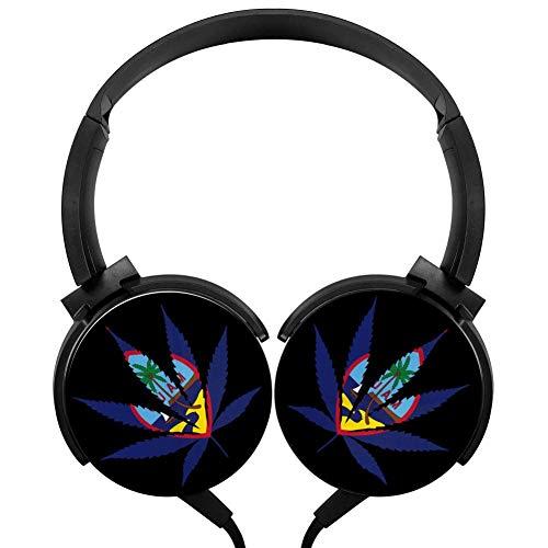 PjNnt Marijuana Guam Flag Bass Subwoofer Wired Headphones Stereo Hi-Fi Over-Ear Earbuds Black