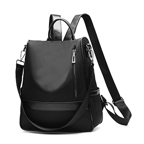 Ladies Lightweight Bag Fashion Purse Backpack School Women Style Black Nylon Waterproof Shoulder Canvas Handbag B A0WBIw