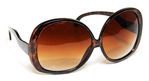 Extra Large Oversize Women's Round Frame Designer Inspired Sunglasses - Large Shell Glasses Tortoise