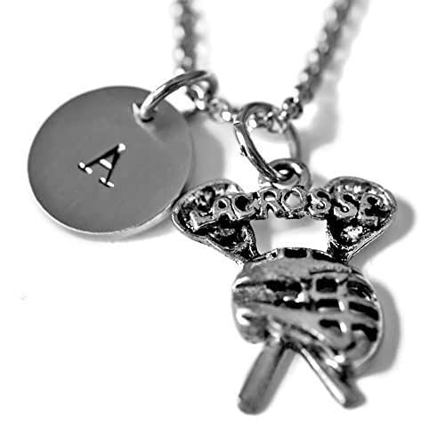 c96bdc3e42a2 Amazon.com  Antique Silver Plated Pewter Lacrosse Necklace ...