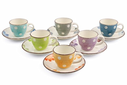 Villa D Este Home Tivoli Margarita Set 6 Coffee Cups With Saucer