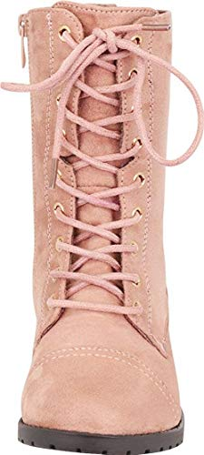 Forever Link Womens Round Toe Military Lace up Knit Ankle Cuff Low Heel Combat Boots, Dusty Pink, 5.5