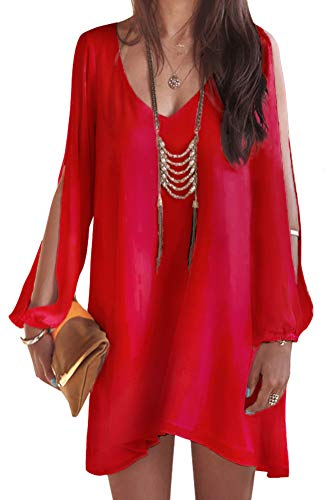 ARJOSA Womens Chiffon V-Neck Open Sleeve Casual Blouse Party Mini Dress (L, Red)