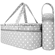 Sweet Carling's Baby Diaper Caddy Organizer With Bottle Cooler Bag | Shower Registry Must Haves For Boy Girl Newborn Breast Feeding Essentials Basket | Nursery Decor Changing Table Storage For New Mom
