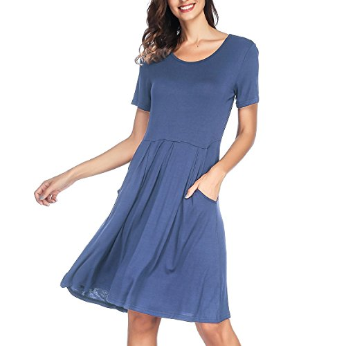 Length RIZUGG with Swing Dress Sleeve Pockets Beja Knee Loose Short Casual Women's Blue Pleated ZrqUPZ