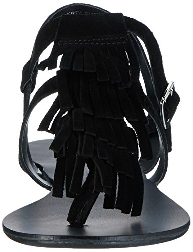 PIECES Damen Psberta Suede Knöchelriemchen Schwarz (Black)