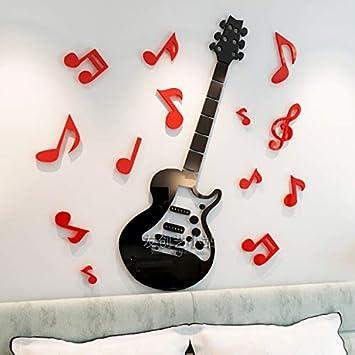 JWQT Decoración de la pared de la nota de la guitarra decoración estéreo 3D símbolo de ...