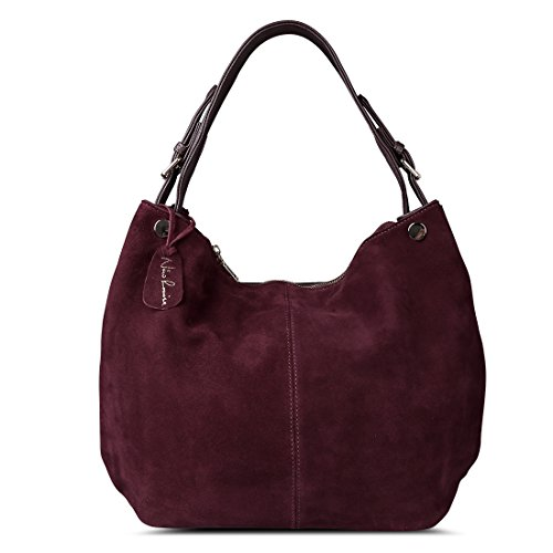 - Nico Louise Women's Genuine Leather Suede Purse Shoulder Bag Casual Hobo Bag Dark Purple