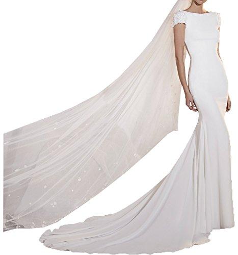 Milano Bride Einfach Weiss Kurzarm Abendkleider Hochzeitskleider brautkleider Brautmode Schmaler Schnitt fuer Beach Hochzeits