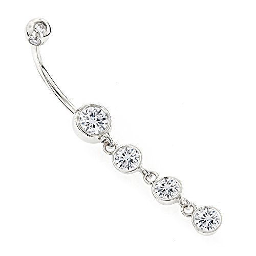 Diamond White Navel Ring - 9