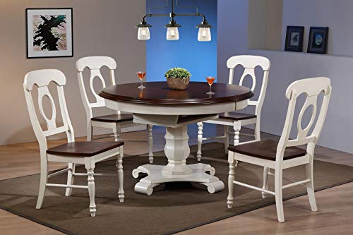 Sunset Trading DLU-ADW4866-C50-AW5PC Andrews Dining Set Medium/Two Size Distressed Antique White/Chestnut ()