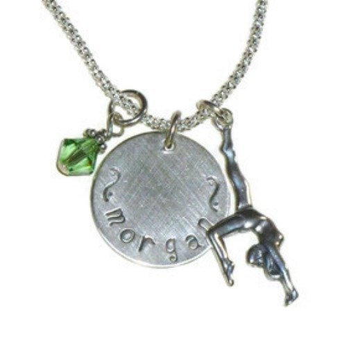 Personalized Hand Stamped Sterling Silver Gymnastics Name Charm Necklace ()
