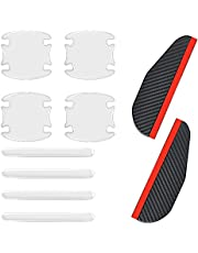 10 pcs Car Door Handle Protector and Mirror Rain Visor Guard, BOSOIRSOU Silicone Auto Transparent Paint Scratch Protective Film Cover Side Sticker, Rear View Side Mirror Rain Eyebrow for Most Car