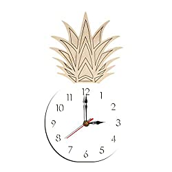 Juner Pineapple Shape Wall Clock, Silent Non Ticking - 10.6 Inch Quality Quartz Battery Operated Easy to Read Home Office School Clock Sweep Movement (White)