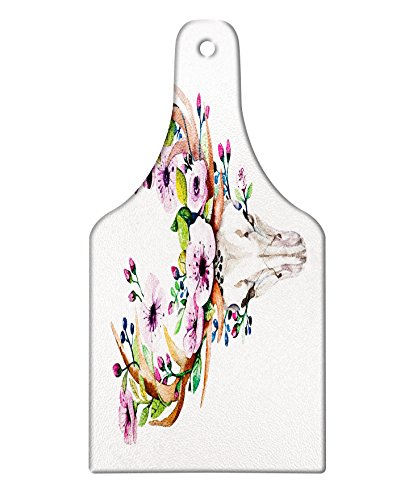 Lunarable Skull Cutting Board, Deer Animal Skull with Floral Horns Nature Inspired Dead and Living Art Print, Decorative Tempered Glass Cutting and Serving Board, Wine Bottle Shape, Cream Pink Brown by Lunarable