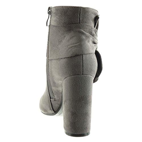 Angkorly - Zapatillas de Moda Botines cavalier mujer nodo Talón Tacón ancho alto 10 CM Gris