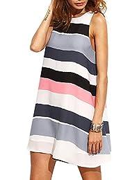 Women's Loose Stripe Tank Dress Summer Sleeveless Dresses (Multicolor, Small)