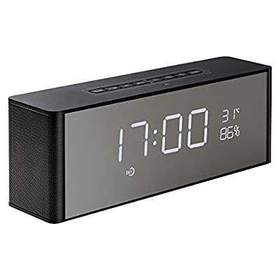 Abuzhen Bluetooth Wireless Speaker with Dual Alarm Clock, Digital FM Radio, 3.5mm Aux Line-in TF Card Play, Thermometer, Large Mirror LED Dimmable Display for Hotel,Home,Office,Bedroom,Travel