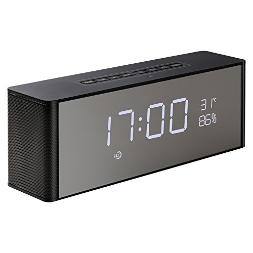 Abuzhen Wireless Speaker with Alarm Clock, Digital FM Radio, 3.5mm Aux Line-in TF Card Play, Thermometer, Large Mirror LED Dimmable Display for Hotel,Home,Office,Bedroom,Travel
