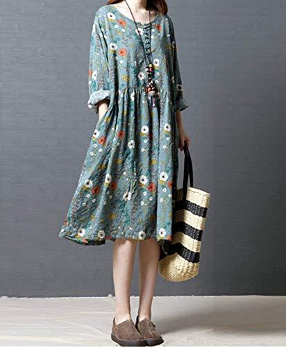 レディース 綿 ワンピース ドレス 花柄 満開式 フレアワンピース レトロワンピース 長袖 シルエット パーティー 結婚式 発表会 体型カバー ゆったり 着痩せ