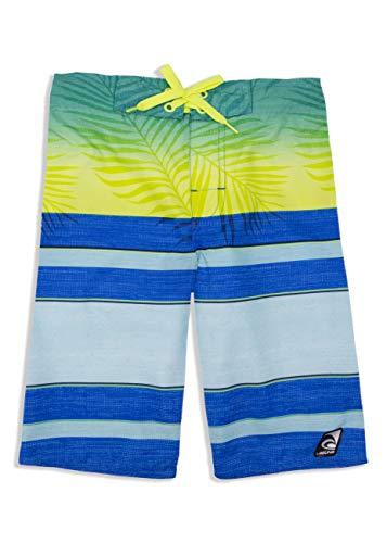 LAGUNA Boys Faded Palm Tropical Boardshorts Swim Trunks, UPF 50+, Blue/Green, 18/20 ()