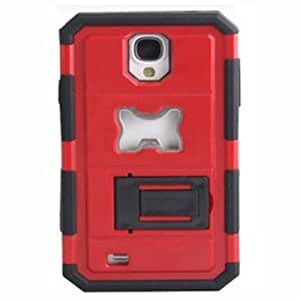 Thunderous Heavy Duty Armor W/ Bottle Opener With Kickstand Case For Samsung Galaxy S4 I9500(Red)