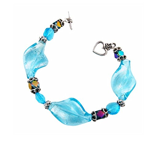 Twisted Glass Bracelet - Aqua Blue (B25)
