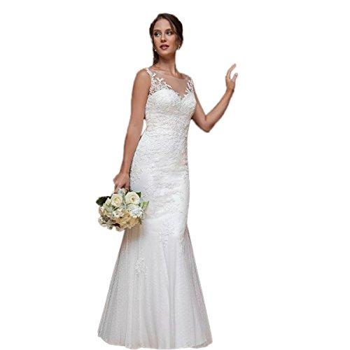 Ausschnitt Applikationen Brautkleider Spitze Elfenbein Hochzeitskleider Falten Tüll Scharfer Zipper V zurück Jahrgang Ärmellos CoCogirls Tasten Ausschnitt Meerjungfrau BZ7Rxnwq