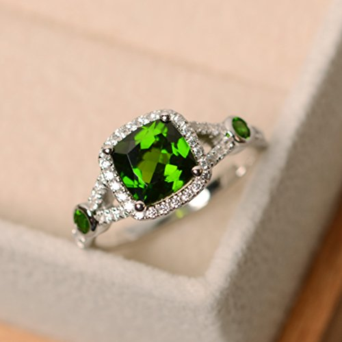 natural diopside rings women silver 925 cushion cut green gemstone