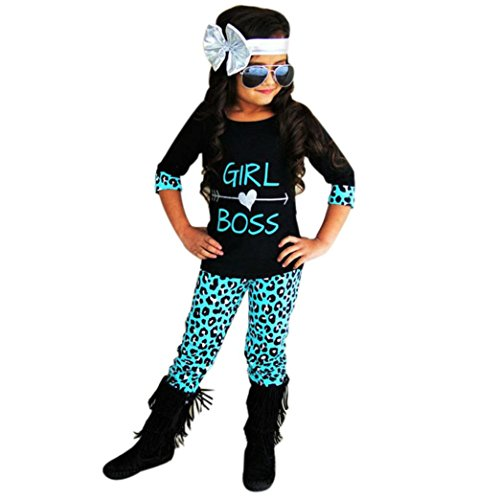 Price comparison product image GBSELL 2PCS Toddler Kids Baby Girls Boss T-shirt Dress+ Long Pants Clothes Set (Black,  6T)