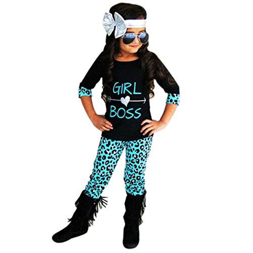 GBSELL 2PCS Toddler Kids Baby Girls Boss T-shirt Dress+ Long Pants Clothes Set (Black, 6T)