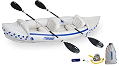 The Sea Eagle 330 Deluxe 2-Person Kayak features the SE330 hull, 2 AB 30 4-part paddles, 2 SEC seats, a foot pump, and a nylon carry bag. This is extremely durable, lightweight (only 26 pounds), and perfect for all your adventures on the wate...