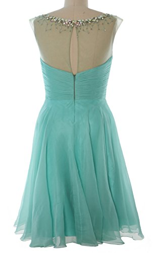 MACloth Women Straps Crystal Chiffon Short Prom Dress Cocktail Party Formal Gown Menta