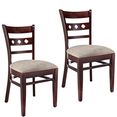 Beechwood Mountain BSD-18S-DM Solid Beech Wood Side Chairs in Dark Mahogany for Kitchen and dining, set of 2 (Kitchen Chairs Beech)