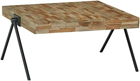Amazon Brand Rivet Hendrix Rustic Wooden Table, 32 W, Natural