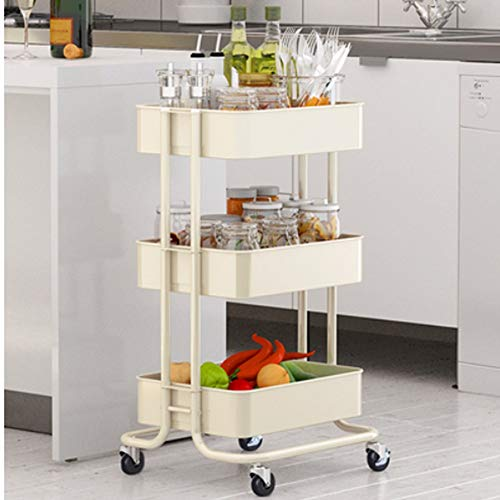 HUO Trolley Household Shelf Floor Removable Kitchen Storage Rack - 3 Color-453874cm (Color : White) by Kitchen shelf (Image #1)