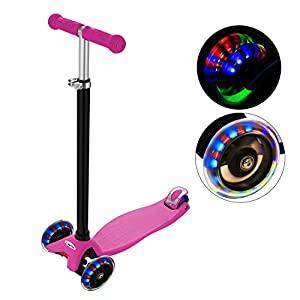 ANCHEER MG1 Kids Scooter for Age 3-12, 3 Wheel Kick Scooter, PU LED Light Wheels ABEC 7, 4 Adjustable Heights, 132lbs Weight Limit, Scooter for Kids (Pink)